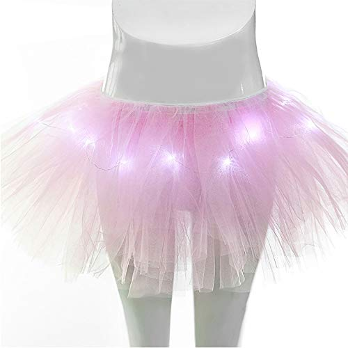 Damen Mini 5 Layered LED leuchtet Tüll Tütü Rock Kostüm Party Tanz Abnutzungs Ballkleid...