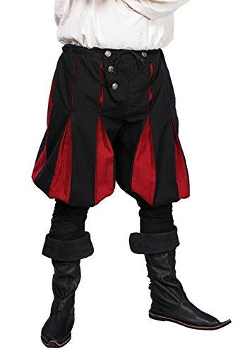 Landsknecht Kostüm - Epic Armoury Mittelalterliche Landsknechthose Edelmann Gaukler LARP Wikinger Mittelalter S-XXL (XL, Schwarz/Dunkelrot)