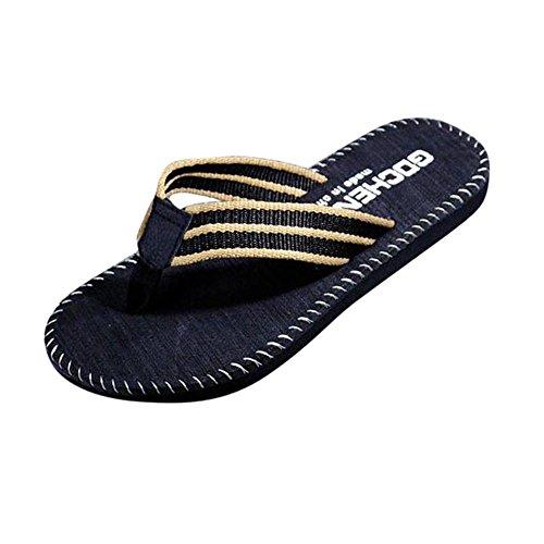 DEELIN Herren Schuhe Auto Linie Flip-Flops Bequeme Badeschuhe Slipper Ideal für Strand Gym Freizeit Badeschlappen mit Fester Sohle Rutschfest Perfekte Dämmung Badelatschen (44, Schwarz)