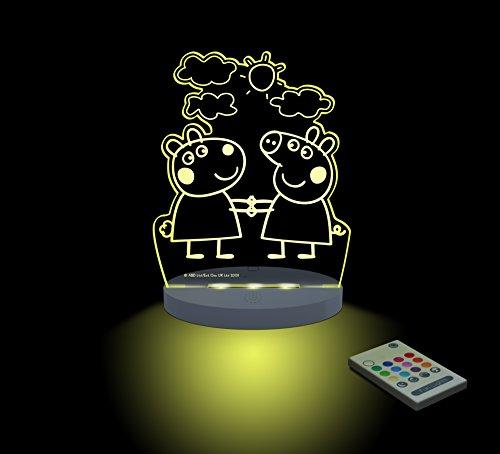 FUNLIGHTS Peppa Pig & Suzy Baby-Lampe LED mehrfarbig mit Fernbedienung. Wählen Sie die Farbe, Intensität, Timer, Regenbogen und vieles mehr! (Schneefräse Lampe)