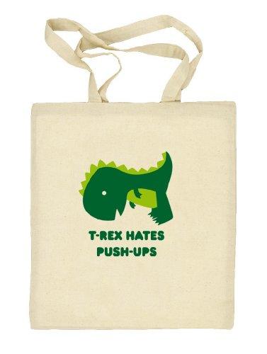Shirtstreet24, T-Rex Hates Push-Ups,Dino Natur Stoffbeutel Jute Tasche (ONE SIZE) Natur