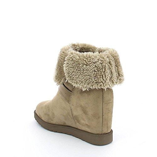 Ideal ShoesHilarie - Stivaletti a zeppa, foderati, con cinturino Beige
