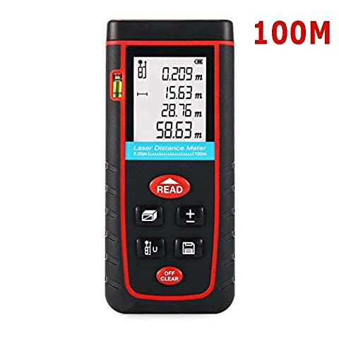XSMeterHouse Safety Laser Distance Meter Range Finder 0.05 to 100m (0.16 to 328ft) Measuring Layout Tool with LCD Backlight