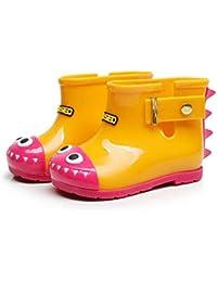 Sanzhileg Zapatos antirresbaladizos para la Lluvia para Niã±Os Zapatos Impermeables de PVC Antideslizantes en Botas de Lluvia con un Precioso Patrã³n de Tiburã³n Unisex - Amarillo 27