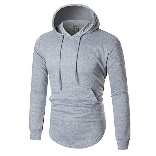 KPILP Herrenmode Herbst Winter Warm Lässige Zipper Langarm-Shirt Hoodie Solides Sweatshirt Top Bluse Outwear Basic Wear(Grau, L