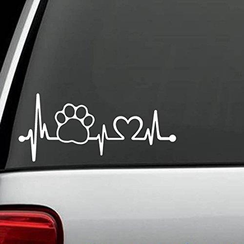Herzschlag Hundepfote 30cm hochwertige UV-beständige Aufkleber,Sticker, für Auto,Wand,Laptop,Fliesen,Bad,Badezimmer,WC, und alle glatten Flächen aus Hochleistungsfolie ohne Hintergrund,