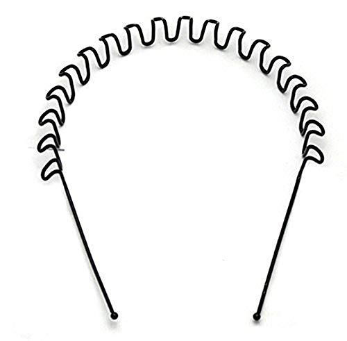 Smile n Style Essentials Black Metal Spring Zig Zag Wave Hair Band for Men and Women