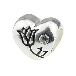 Perle-Bead in argento sterling 925a forma di cuore triangolo England Flag & Rose per Pandora/Biagi/Troll/Chamilia-Bracciale catena serpente