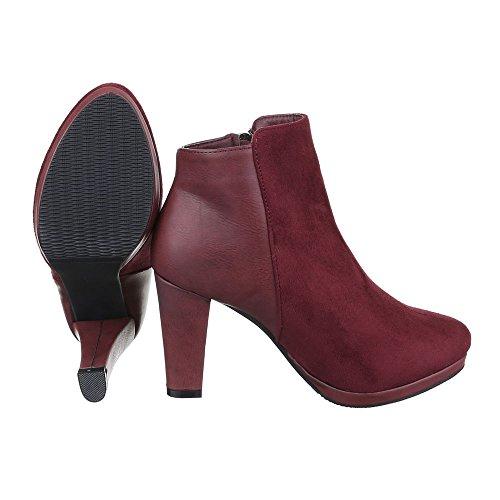 Klassische Stiefeletten Damen Schuhe Schlupfstiefel Pump Leicht Gefütterte Reißverschluss Ital-Design Stiefeletten Weinrot