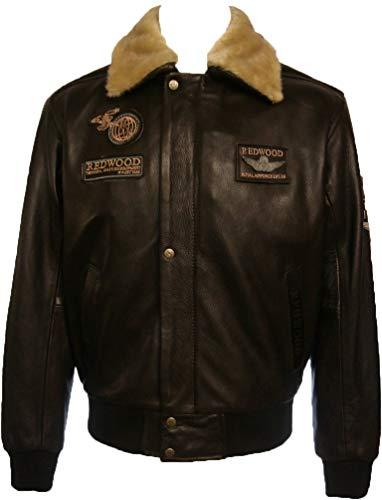 UNICORN Hommes Réel en cuir Veste Pilot Haut Brun Taille 36 #N4