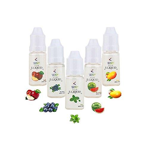 Liquido Sigaretta Elettronica, VVAY E-liquid Sigaretta Elettronica Senza Nicotina 5 Flaconi da 10 ml (Mango, Anguria, Mirtillo, Apple, Menta ice, )
