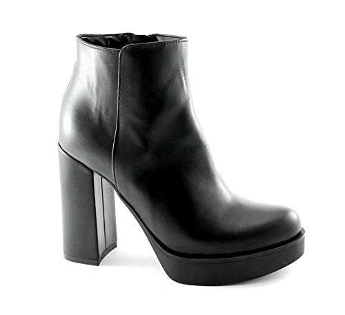 DIVINE FOLLIE 1152 nero stivaletti donna tronchetti zip tacco plateaux 36