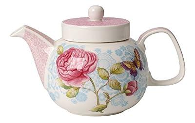 Villeroy & Boch Rose Cottage Théière, 600 ml, Hauteur: 13,2 cm, Porcelaine Premium, Blanc/Multicolore