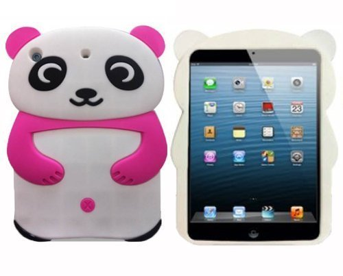 iPad Mini Fall , Phenix-Color 3D Silikon [Drop Proof, stoßfest, Rutschfeste] Panda Teddy Bear Dog Cartoon Gel Gummi Back Cover Case für iPad Mini 123 Panda-3