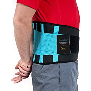 Back Support Belt, Lower Back Brace - The Only Certified Medical-Grade Lumbar Belt for Pain Relief and Injury Prevention | Double Adjustment Perfect Fit | AgileBak by Clever Yellow (TM) | 4 Sizes.