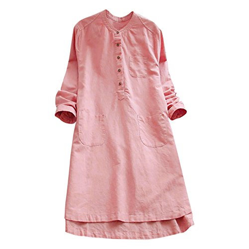 Damen Retro Langes beiläufiges Kleid Lose Knopf Tops Bluse Mini Shirt Kleid (Rosa, XL)