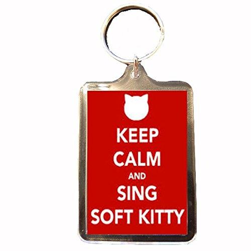 Image of Big Bang Theory - Keep Calm Keyring (Sing Soft Kitty - Red)