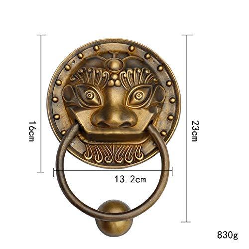 Unbekannt Türklopfer mit Löwenkopf, robust, Vintage, Antik-Messing-Bronze, perfekt für Landhaus oder Moderne Stadthäuser, Herrenhaus-Dekoration, Haushaltstür-Hardware, antik, Large