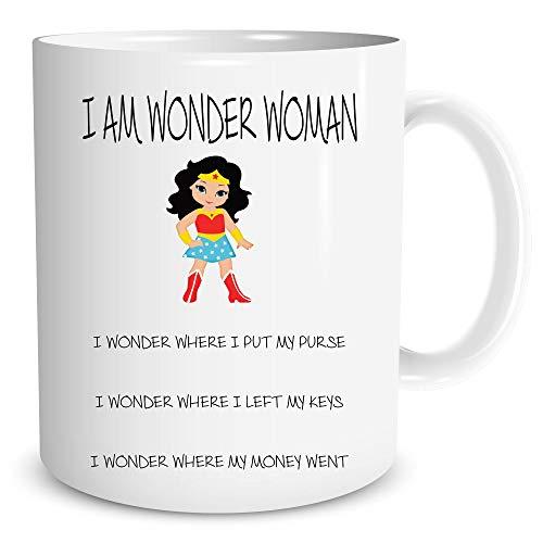 Womens Mutter (Wonder Woman Becher Lustig   Neuheit Skurril Geschenke Muttertag Mutter Geschenk Superheld Best Friend Geschenk (WSDMUG554))