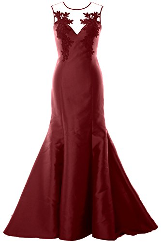 MACloth Women Mermaid Evening Gown Straps Illusion Lace Satin Formal Party Dress Burgunderrot