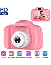 Womdee Kids 2 Inch Color IPS Screen 8MP HD Kid Video Recorder Mini Digital Camera, 1080P with Anti-Drop Silicone Shell Support 32GB SD Card for Boys and Girls (Pink, 3-10 Years)
