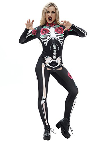 URVIP Skelett Overall Damen Knochen Skeleton Halloween Kostüm Bodysuit Anzug Karneval Fasching BAX-009 M