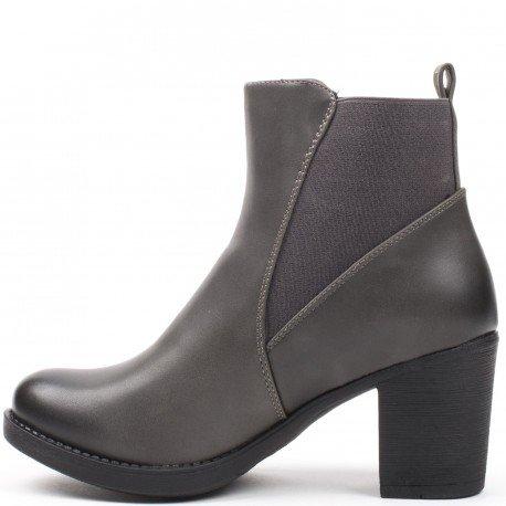 Ideal Shoes - Bottines en similicuir avec bande élastique Poema Gris