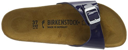 Birkenstock Madrid, Mules Femme Bleu (Vernis Dress Blue)
