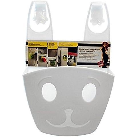 Best Over, Portaoggetti da appendere. Questo resistente plastica smiley Kitty, si adatta alla maggior parte dei armadi porte, armadi, cassetti o fasciatoio Binari. Smart trendy giorno Stuff Organizer. Ideale per cucina, bagno, camera, Stanza Giochi aperto cestino. White