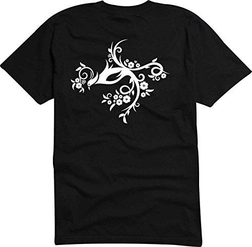 T-Shirt D199 T-Shirt Herren schwarz mit farbigem Brustaufdruck - Tribal schöner Vogel mit tollen Blumen Schwarz