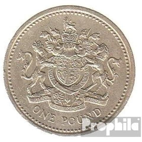 Regno Unito Km-No.. : 933 1983 molto già Nickel-Brass 1983 1 Pound Crest (Monete )