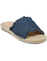 KANABIS Women's Denim and Jute Flats