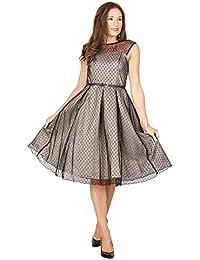 Aleena longue robe de bal à pois à pois argent - Vintage, années 50, Rockabilly - M / NL38 - Lindy Bop