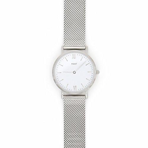PHAIST Damenuhr silber - 36mm Armbanduhr aus Edelstahl - hochwertige und nachhaltige Uhr mit Saphirglas und Schweizer Uhrwerk