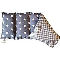Kissenscheune Körnerkissen Natur Kühlkissen Wärmekissen Sterne grau kariert 100% Baumwolle 50x20cm Dinkelkissen