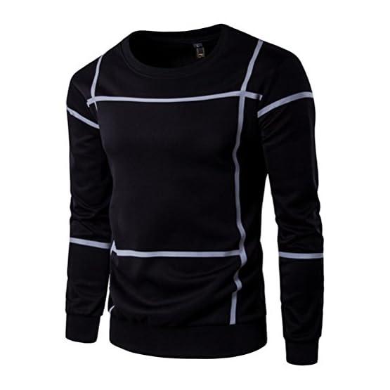 77399530dca7 Sudaderas de Hombres, Manadlian Rayas de Moda Hombres de Manga Larga Abrigo  Pullover O Cuello suéter Desgastar