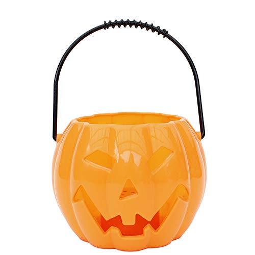 Kürbis-Laterne, Halloween Props Bar Kinder Kürbis-Laterne Maskerade Geisterfest Halloween-Kürbis-Eimer mit Sound Glow (Color : Orange) -