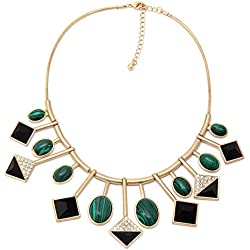 Chkokko Stunning Designed Gold Metal Necklace with Green Gemstones Designer Necklace Combo For Women / Girls