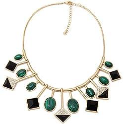 Chkokko Stunning Designed Gold Metal Necklace with Green Gemstones Designer Necklace Combo For Women / Girls