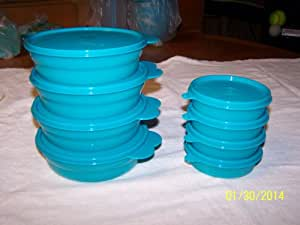 Tupperware Microwaveable Cereal Bowls and Little Wonders Set of Tropical Water 4 by Tupperware