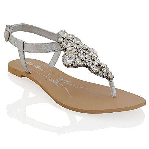 ESSEX GLAM Sandalo Donna Argento Vacanze Infradito T-Bar Finto Diamante EU 39