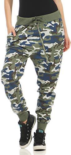 Malito Damen Sweatpants im Camouflage Look   Sporthose mit Reißverschluss   Baggy zum Tanzen   Jogginghose - 3345 (Oliv)