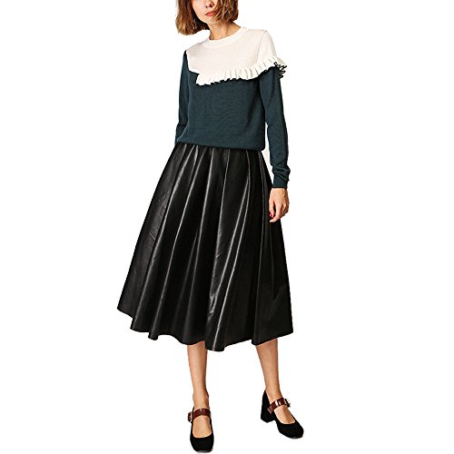 CICI RAN Frauen Elegante lange Ärmel Rundhals Strick Pullover Pullover Knit Frill Top