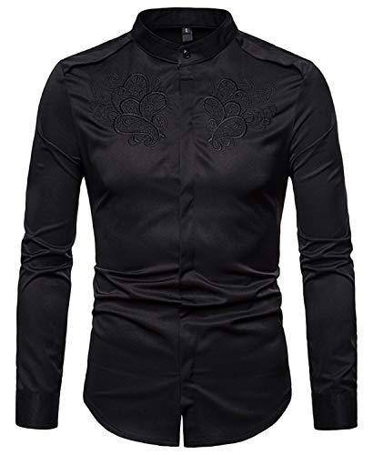 WHATLEES Herren urban Basic Barock Hemd mit Paisley Bandana aufgesticktem Design BA0099-black-XL