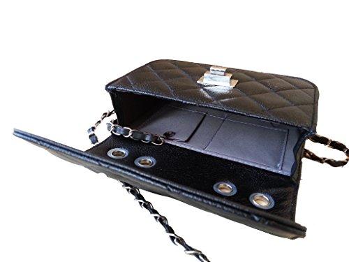 Aimerfeel stile di design trapuntato finta pelle crossbody borsa con la catena lunga, nero o beige nero