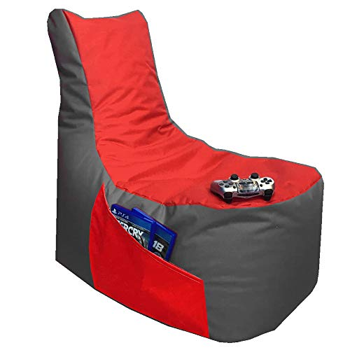 Sitzsack 3er Set Big Gamer Sessel mit EPS Sytropor Füllung - Rückenkissen - Hocker - In & Outdoor Sitzsäcke Sessel Kissen Sofa Sitzkissen Bodenkissen (Big Gamer Sitzsack 2-farbig, Grau - Rot)