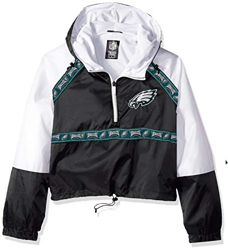 Icer Brands NFL Philadelphia Eagles Damen Quarter Zip Hoodie Windbreaker Play Action Jacket, Größe S, Schwarz Eagle Womens Zip Hoodie