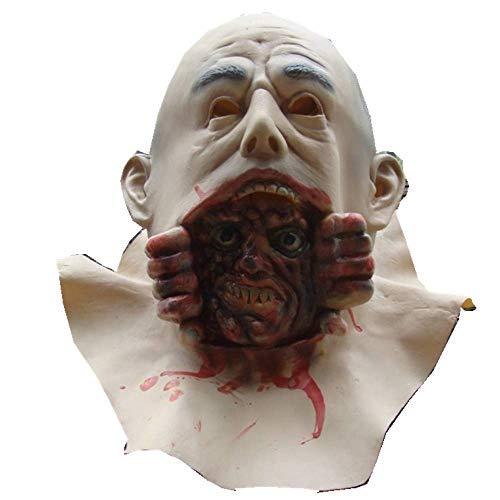Kostüm Knochen Durch Kopf - Bnmgh Glatzköpfiger Mann kroch aus dem Mund des Geistes Terror Horror Maske Scary Kostüme Cosplay für Neuheit Zombie Haunted House Party Halloween Dekoration