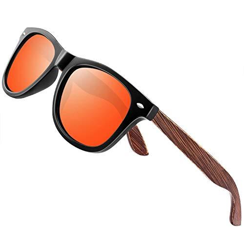 wearpro Sonnenbrille Herren Polarisierte Walnussholz Holz Männer Frauen Sonnenbrillen UV400 Mode für das Reisen mit polarisierten Gläsern W1003 (W OrangeNail)