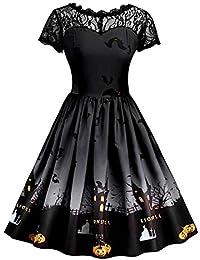 Mallalah Vestido de Halloween Vestido de Oscilación del Patinador de la Calabaza de Las Mujeres Vestido